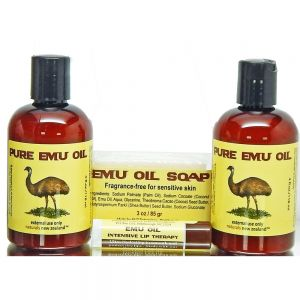 Set of two Emu Oil Bottles, Soap, and Free Lip Balm